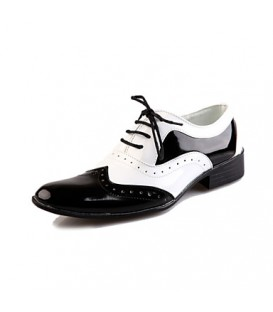 Men's Spring / Summer / Fall / Winter Comfort Leather Party & Evening Flat Heel Lace-up Black / White