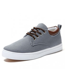 Men's Spring / Summer / Fall / Winter Comfort / Round Toe Canvas Office & Career / Casual Flat Heel Lace-up Blue / Gray / Beige