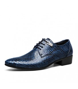 Men's Shoes Casual/Party/Office Snake Print Fashion PU Leather Shoes Black/Bule