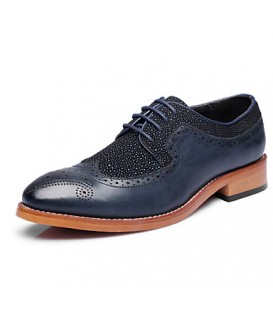 Men's Shoes Office & Career/Party & Evening/Casual Leather Oxfords Black/Blue
